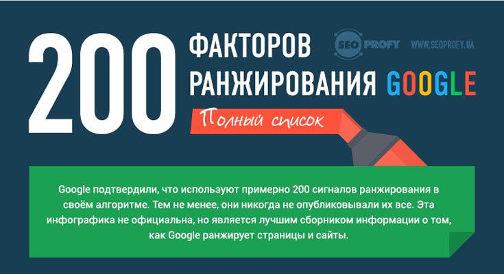 200 факторов ранжирования в Google