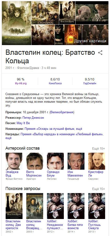 Семантическая выдача гугл